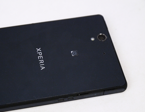 The Xperia Z is available in three color options, black, white and purple. Note the elegant wording on the tempered glass back (which only stays elegant to the extent you wipe it clean).