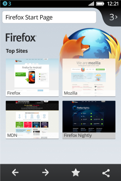 Screenshot of the Firefox OS. <br> Image source: Mozilla