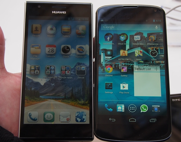 Comparison shot between the Huawei Ascend P2 and LG Nexus 4.