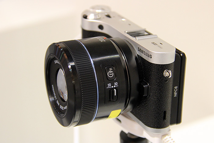The new NX300 with the equally new 45mm f/1.8 2D/3D lens.