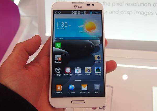 Seen here is the 5.5-inch LG Optimus G Pro.