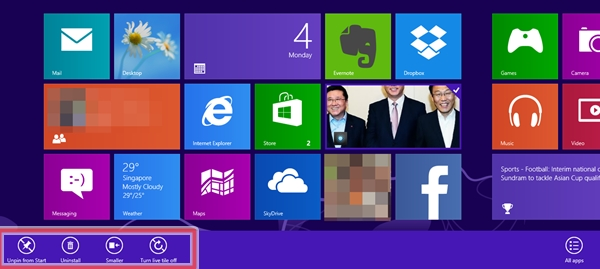 You can unpin a Tile, uninstall, resize or turn the live tile off from the Start Screen.