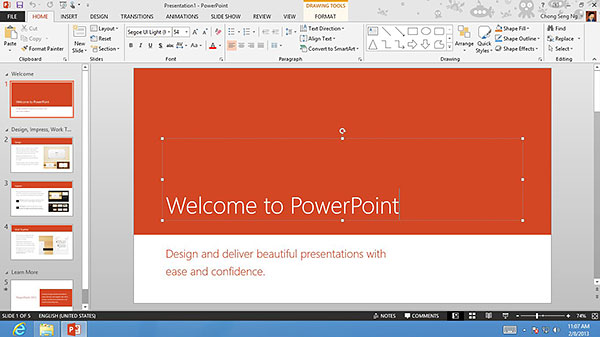 Here's a screenshot of how PowerPoint 2013 looks like on a 1,366 x 768-pixel display using Mouse mode.