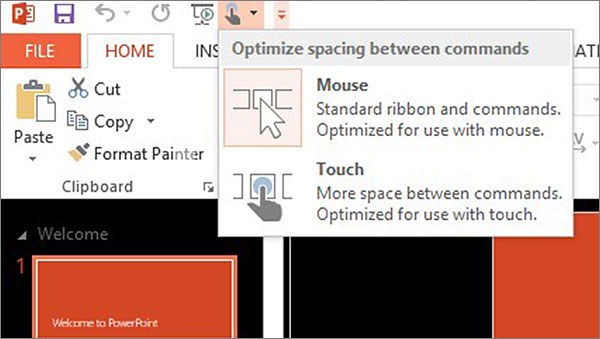Let's face it: Traditional desktop apps like Office aren't naturally touch apps. One method used by Microsoft to make Office easier to use on touch-enabled devices is to implement a Touch mode to allow for more space between commands.