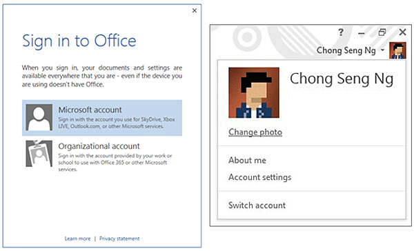 Left: You can sign in with your personal Microsoft account; or, you can use the Organizational account if the copy of Office belongs to your company or school. Right: After signing in, you'll see your name in the top right corner in any Office app; you can switch to another account from here any time.