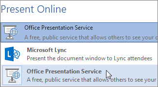 Sharing documents with the free Office Presentation Service where viewers can follow the presentation online with their web browsers with no additional software needed. (Image Source: Microsoft)