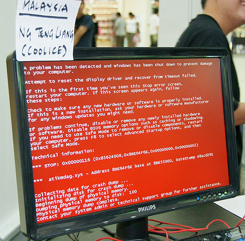 Once in a blue moon, you may witness a red screen of death.