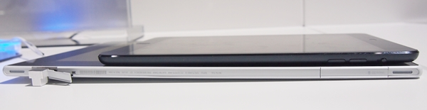 The 10.1-inch Sony Xperia Tablet Z (bottom) claims the title of slimmest tablet from the 7.9-inch Apple iPad mini (top).