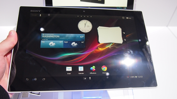 The Sony Xperia Tablet Z sports an angular design with four barely rounded corners.