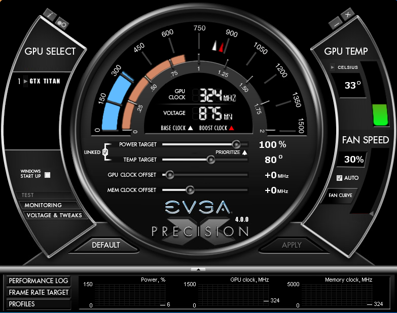 EVGA's Precision X showing the new GPU Boost 2.0 controls, with thresholds for temperature and power.