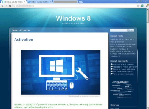 Screenshot of site offering fake Windows 8 activator (Image source: Trend Micro)