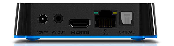Analog AV out, HDMI, Ethernet, and optical digital audio out connections can be found at the rear of the WD TV Play.