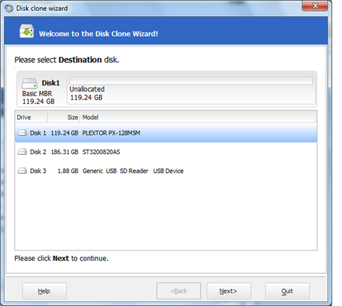 When prompted for your destination disk, select your SSD.