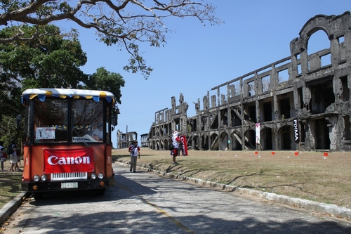 One of the trams used by elite Canon dealers and media participants to tour around Corregidor Island.