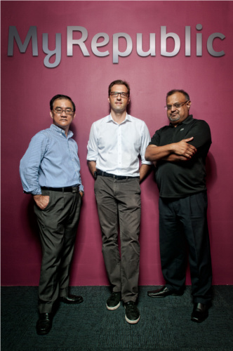 Founders of MyRepublic (from L to R): K C Lai, Greg Mittman, Malcolm Rodrigues