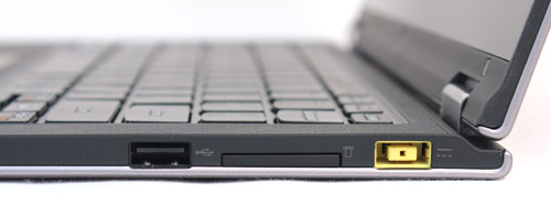 On the right, you'll find one USB 2.0 port, the multi-card reader and Lenovo's proprietary charging port.
