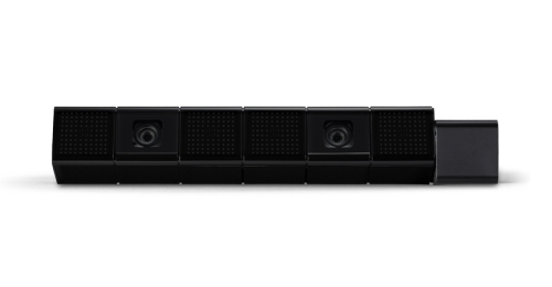 The PlayStation 4 eye camera is equipped with two high-sensitive cameras with wide-angle lenses and four microphones to pick up on players' position and voice commands. It also supports face recognition, allowing players to login to their PS4.