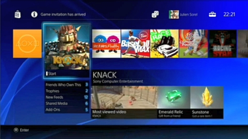 The newly-designed PS4 menu screen allows players to check out recommended content, view friends' gameplay progress, and more. SCE is looking to reduce download times by predicting players' future purchases and downloading them onto the PS4 before they even click the Buy button.