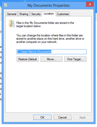 Right-click on the folders in your new User directory that you want to remap, click on Properties and then the location tab. You will be greeted with this screen where you can remap the folder to the one in your old hard drive.