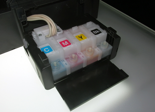 Most ink cartridges come with a built-in print head, which drives the cost of the cartridge up. The L-series lets users refill their ink tanks with ink refill bottles sold by Epson. By shifting the print head to within the printer itself, Epson has managed to keep the costs of the ink refill bottles down.