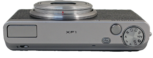 The XF1 has a very clean look and the top of the camera sports just one mode dial in addition to the pop-up flash and the small Fn button, which is set by default to adjust ISO settings.