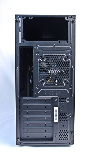 Most of the casings characteristics at the rear give way that the CM Force 500 is an entry-level chassis - from the top mounted PSU, to the old-school expansion slot covers that need to be forced out and the sole rear 120mm cooling fan bundled with the case.
