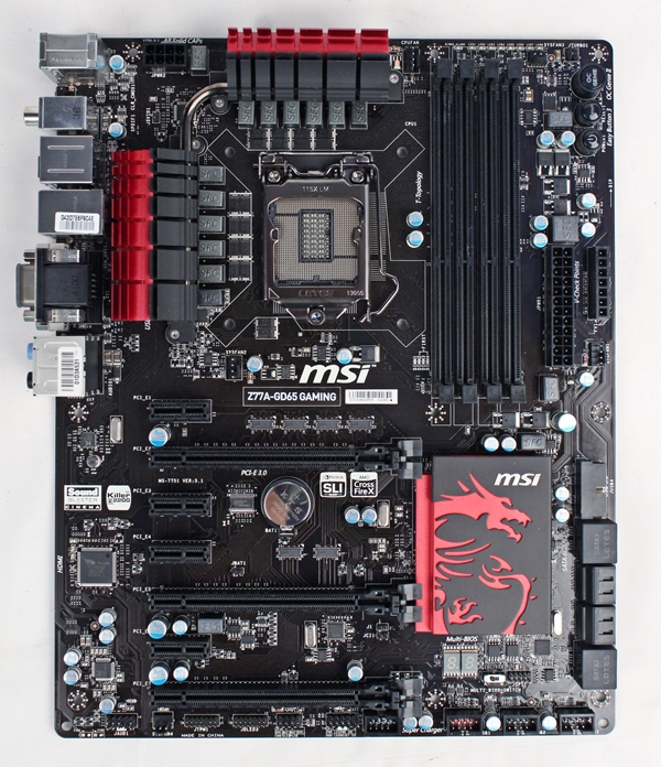The MSI Z77A-GD65 Gaming board sports a menacing-looking chipset heatsink that sports the Dragoon Army motif. The board supports overclocked memory modules rated up to DDR3-3000+ and features a Killer E2205 Gigabit chip to reduce latency during online gaming.