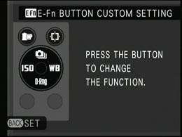 You can assign various functions such as ISO, white balance, image quality to the four buttons around the control ring as well as the playback and movie button. Pressing the E-Fn button lets you access these functions temporarily.