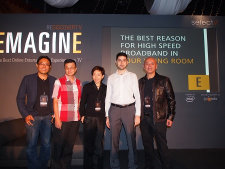 From L-R: C.S. Goh, CEO, Select-TV; Dato' Andrew Tan, Director, Music Tone; Kim Tham, Chairperson and Director, Select-TV; Mahmoud Fouz, Managing Director, Lazada Malaysia; and James Chong, Chief EMAGINEER