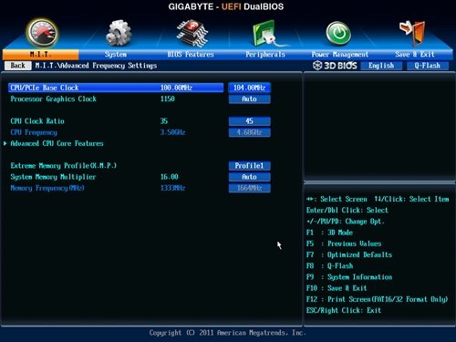 The EasyTune 6 utility changed some BIOS settings in the Advanced Frequency Settings menu.
