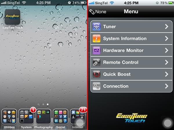 After installing Gigabyte's EasyTune Touch, we proceeded to configure the iOS software after both devices were successfully found on the same Wi-Fi network.