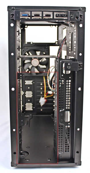 We removed the front panel cover and we can see more options for mounting cooling fans.