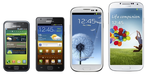 The four generations of Samsung Galaxy S flagship devices.