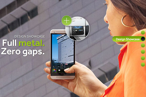 The HTC One sports a full metal body, with tapered edges, and a 'zero gap' construction. (Image source: HTC.)