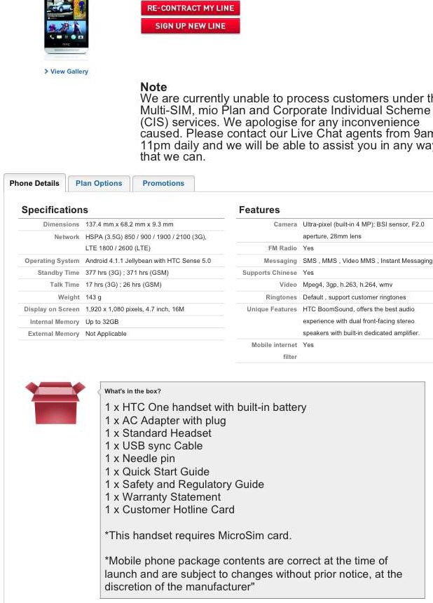 HTC One phone details and confirmation of package contents.
