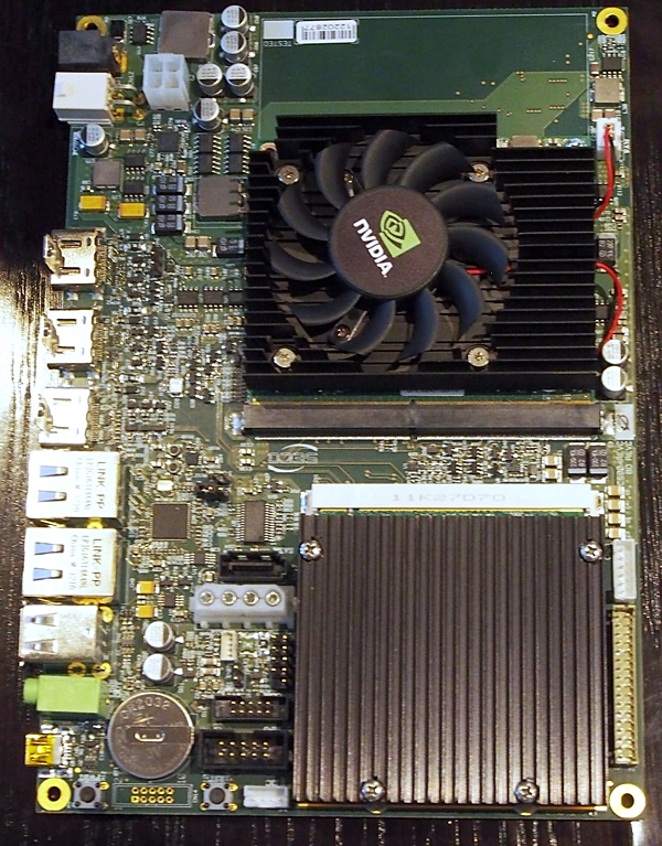 The low-design Kayla board that features a Tegra SoC with an onboard Kepler GPU.