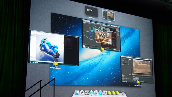 During VCA's demonstration, a MacBook Pro had three instances of NVIDIA Workspace running. Each workspace had a CPU-GPU intensive application in use; the one on the extreme left had SolidWorks operating, the one on the far right hosted Adobe Premiere with a 4K video playing and the middle workspace had a CAD-based software in operation.