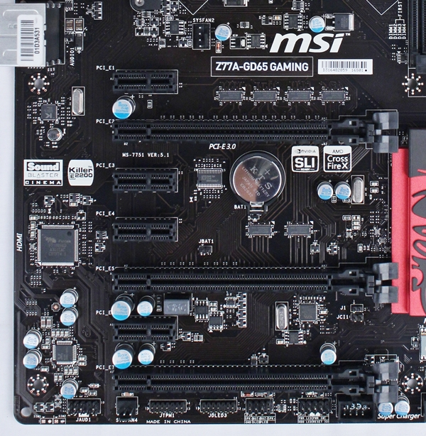 Besides the three PCIe Gen 3.0 x 16 slots, there are also four PCIe 2.0 x1 slots. Like the Big Bang Z77 MPower board, there are no legacy PCI slots.