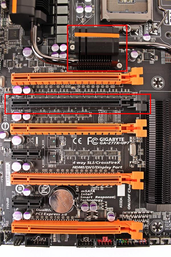 The four orange PEG slots that are able to provide four-way graphics support due to the presence of a PLX PEX 8747 switching chip that feeds each of the PCIe Gen 3.0 x 16 slot with up to eight lanes of PCIe Gen 3.0 connectivity in a four-way graphics cards setup.