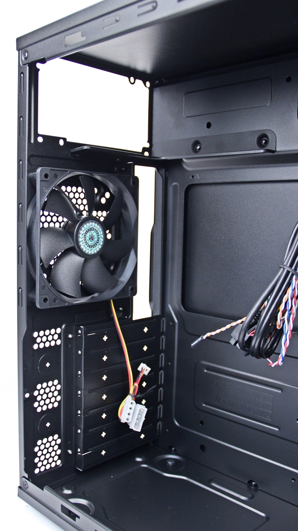 A closer look at the interior of the case and note that there are are no bottom-mounted cooling options.