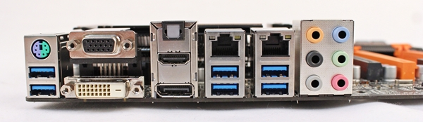 The back panel connectors include six USB 3.0 ports, four video output connectivity options as well as a pair of Gigabit LAN ports.