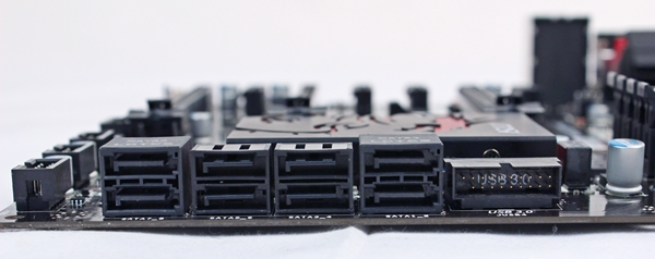 The rightmost SATA 6Gbps connector stack is driven by the board's Intel Z77 chipset; while the leftmost stack is powered by the Asmedia ASM1061 controller.