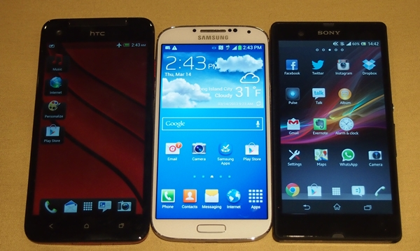 From left to right: HTC Butterfly, Samsung Galaxy S4 and Sony Xperia Z.
