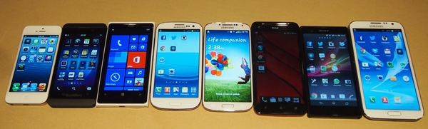 From left to right: Apple iPhone 5, BlackBerry Z10, Nokia Lumia 920, Samsung Galaxy S III, Galaxy S4, HTC Butterfly, Sony Xperia Z and Samsung Galaxy Note II.