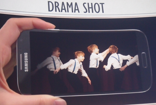 The next camera feature, Drama Shot enables the user to take a burst of 9 photos and combine them into one.