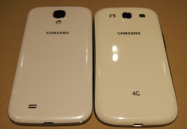 The rear LED flash is now situated below the camera on the Samsung Galaxy S4 (left) and the speaker is shifted to the bottom left.