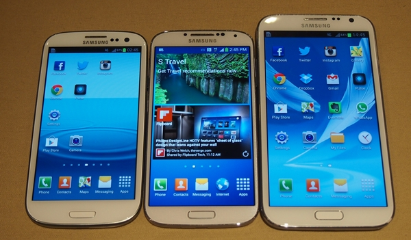 All three Samsung devices (Galaxy S III, S4, and Note II) are made up of plastic.