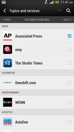 A decent number of sources and feeds, including local content such a The Straits Times is available for HTC BlinkFeed.