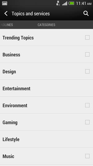 Much like Flipboard, which BlinkFeed resemble quite a fair bit, you can also subscribe to categories.