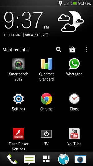 Usage of the Roboto font on the applications home page gives HTC Sense a Google feel.